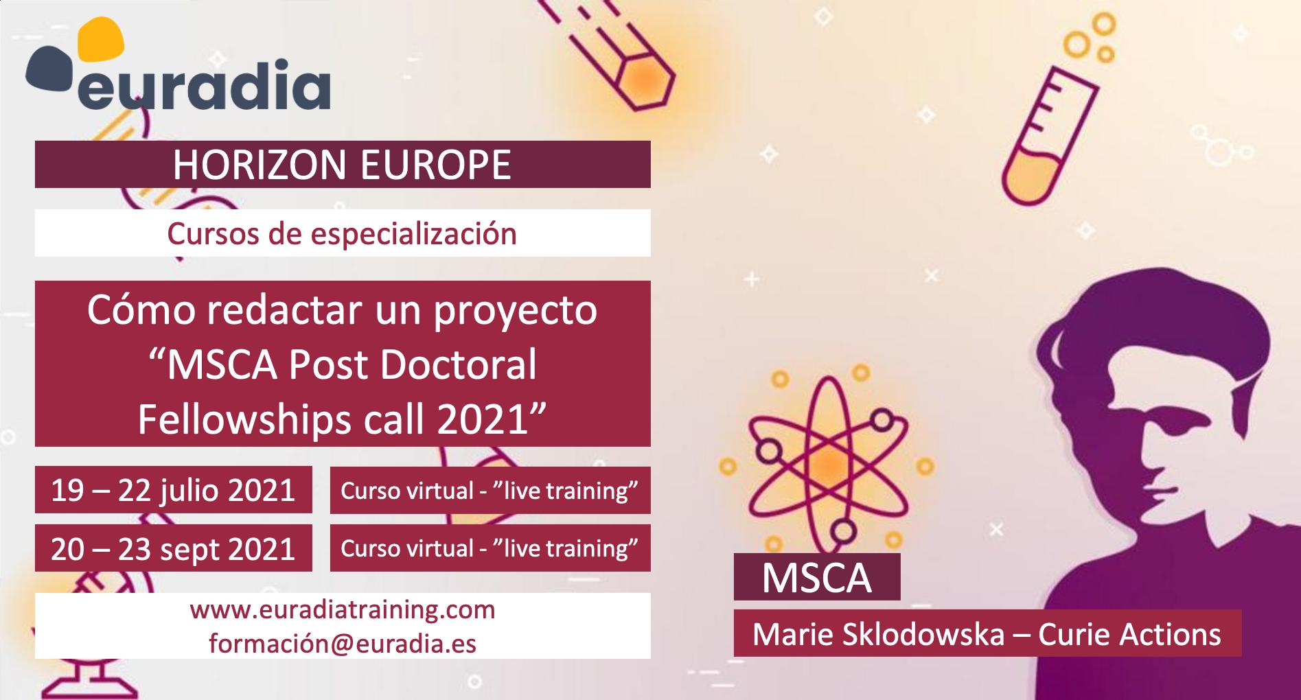 Redacción proyecto MSCA Postdoctoral Fellowship 2021